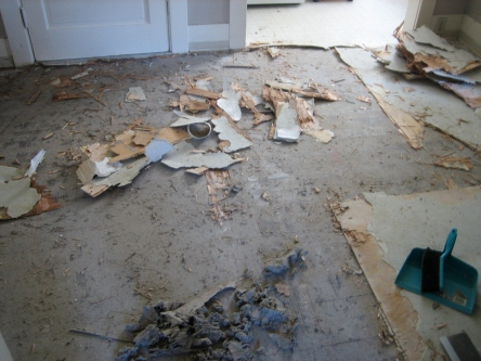 during removing vinyl floor from kitchen